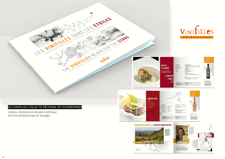 Les Vinifilles - Conception, illustration, graphisme et réalisation technique livre 164 pages